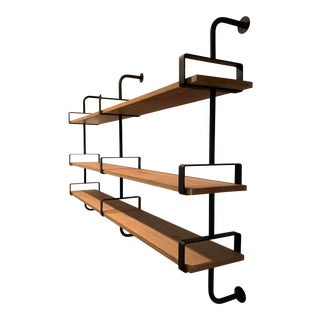 French Iron and White Oak Shelves For Sale