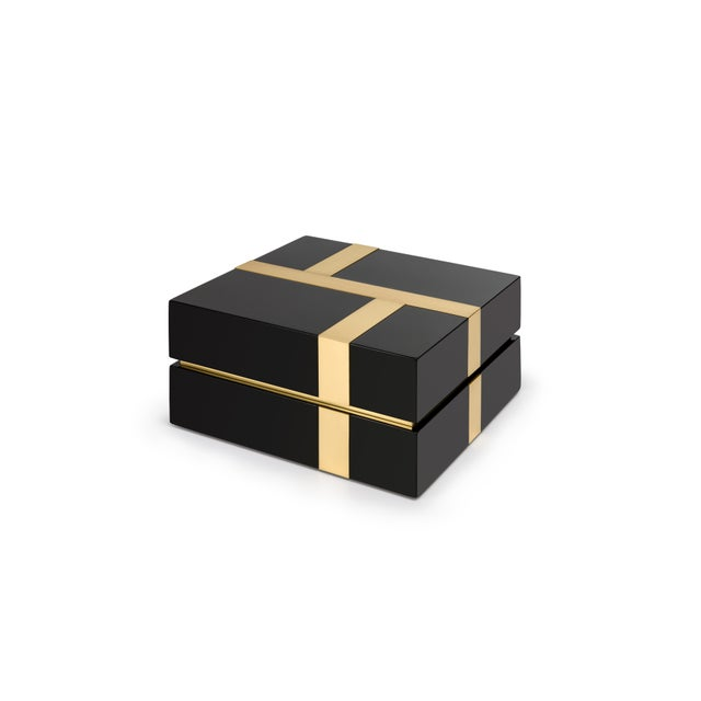 Flair Collection Righe Box in Black / Brass For Sale - Image 4 of 5