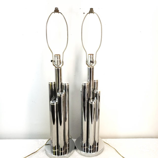 Mid Century Modern Chrome Table Lamps Cylinder Sculptural MCM Industrial Designer Lamp a Pair Unsure of the designer of...