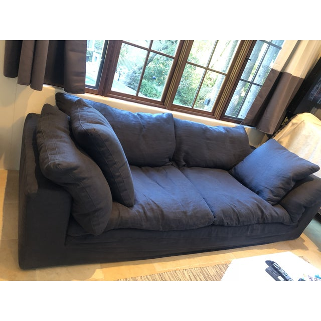 Textile Restoration Hardware Navy Cloud 2 Seat Down Sofa For Sale - Image 7 of 13