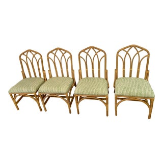 Set of Four Newly Upholstered Vintage Palm Beach Chic Hollywood Regency Cathedral Rattan Dining Chairs in Green and White Print For Sale