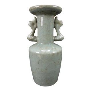 Chinese Crackle Glazed Ge Yao Celadon Elephant Two Handle Vase