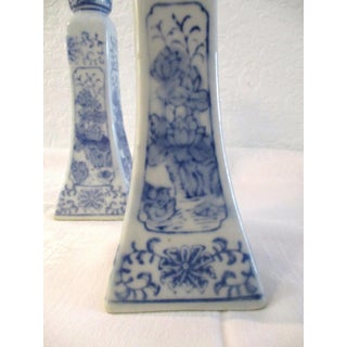 Vintage Asian Blue & White Floral Candle Holders - a Pair Preview