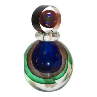 Formia 1990 Modern Italian Organic Green Blue Amethyst Murano Glass Round Bottle For Sale