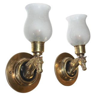 French Brass Horse Equestrian Wall Sconces - a Pair For Sale