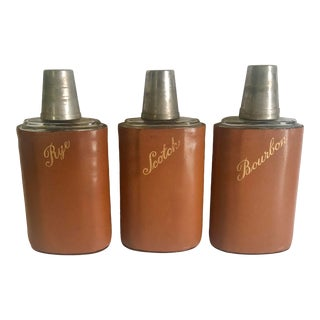 1940s Leather Wrapped Scotch, Rye & Bourbon Bottles- 3 Pieces For Sale