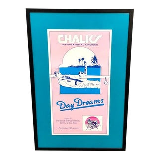 1980s Chalk's Airlines Charter Plane Ad Poster For Sale