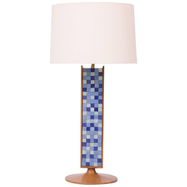 Walnut Mosaic Table Lamp For Sale - Image 4 of 4