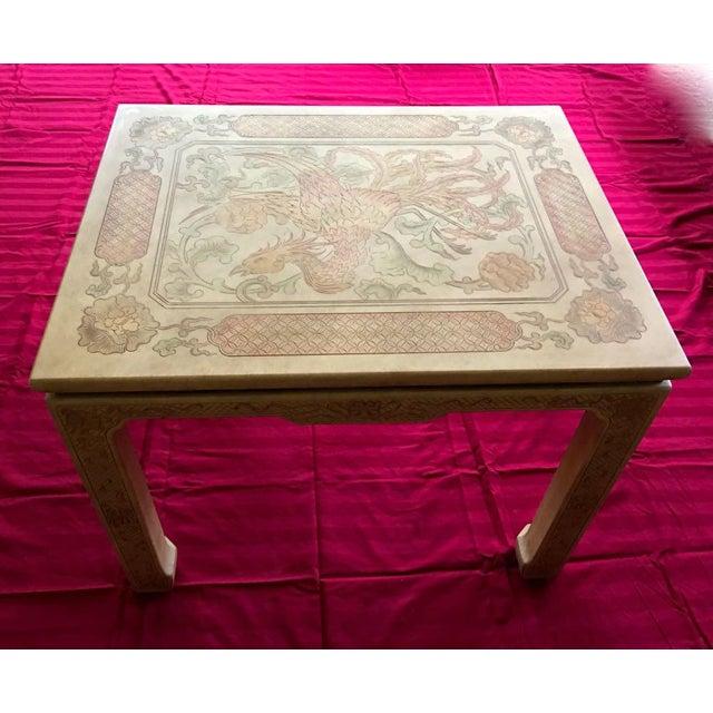 Vintage custom John Widdicomb Mario Buatta Chinoiserie incised Phoenix lamp table The great Grand Rapids furniture baron...