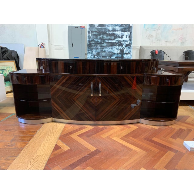 Giorgio Luna Collection Ebony Makassar Curved Unit For Sale In San Francisco - Image 6 of 13