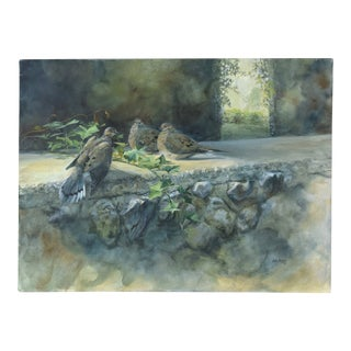 20th Century Impressionist Julia Rogers Wildlife Oil Painting Mourning Doves on Rock Wall For Sale