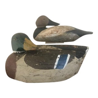Antique Hand Crafted Working Duck Decoys - A Pair For Sale