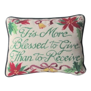 Vintage Mid-Century Christmas Wool Velvet Needlepoint Pillow For Sale