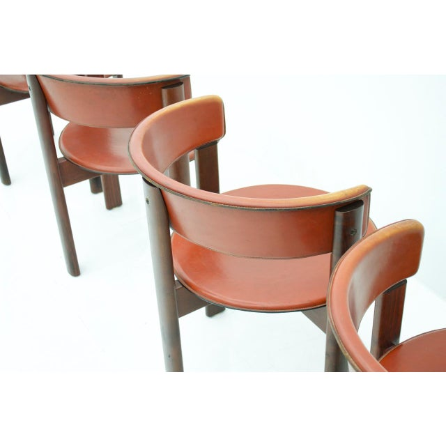 Animal Skin Set of Four Cassina Dining Room Chairs in Red Leather Italy, 1970s For Sale - Image 7 of 12