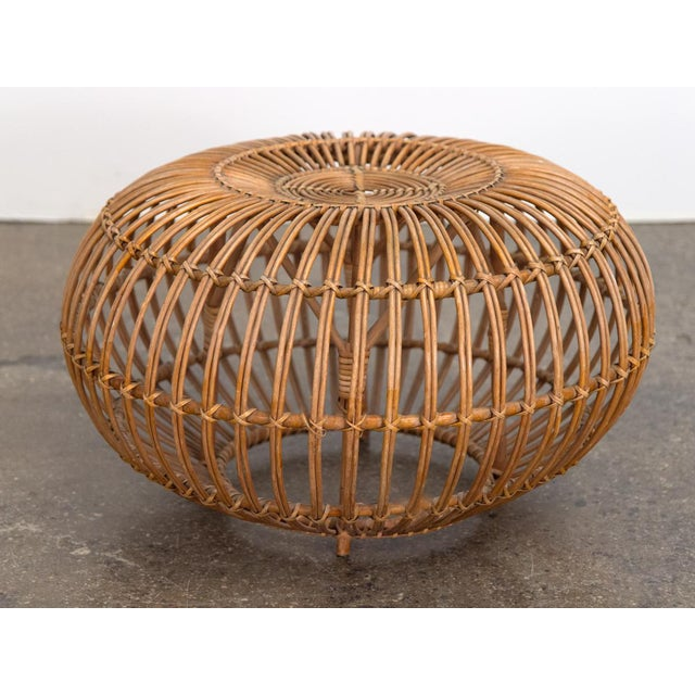 Boho Chic Vintage Woven Rattan Ottoman by Franco Albini For Sale - Image 3 of 8