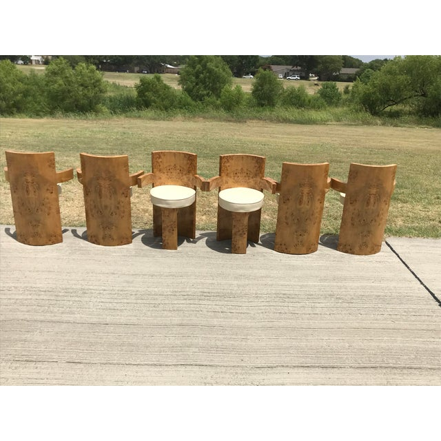Abstract 1930s Chippendale Burl Wood Dining Chairs - Set of 6 For Sale - Image 3 of 8