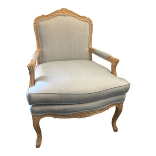 Pale Blue French Provincial Upholstered Bergere Chair For Sale