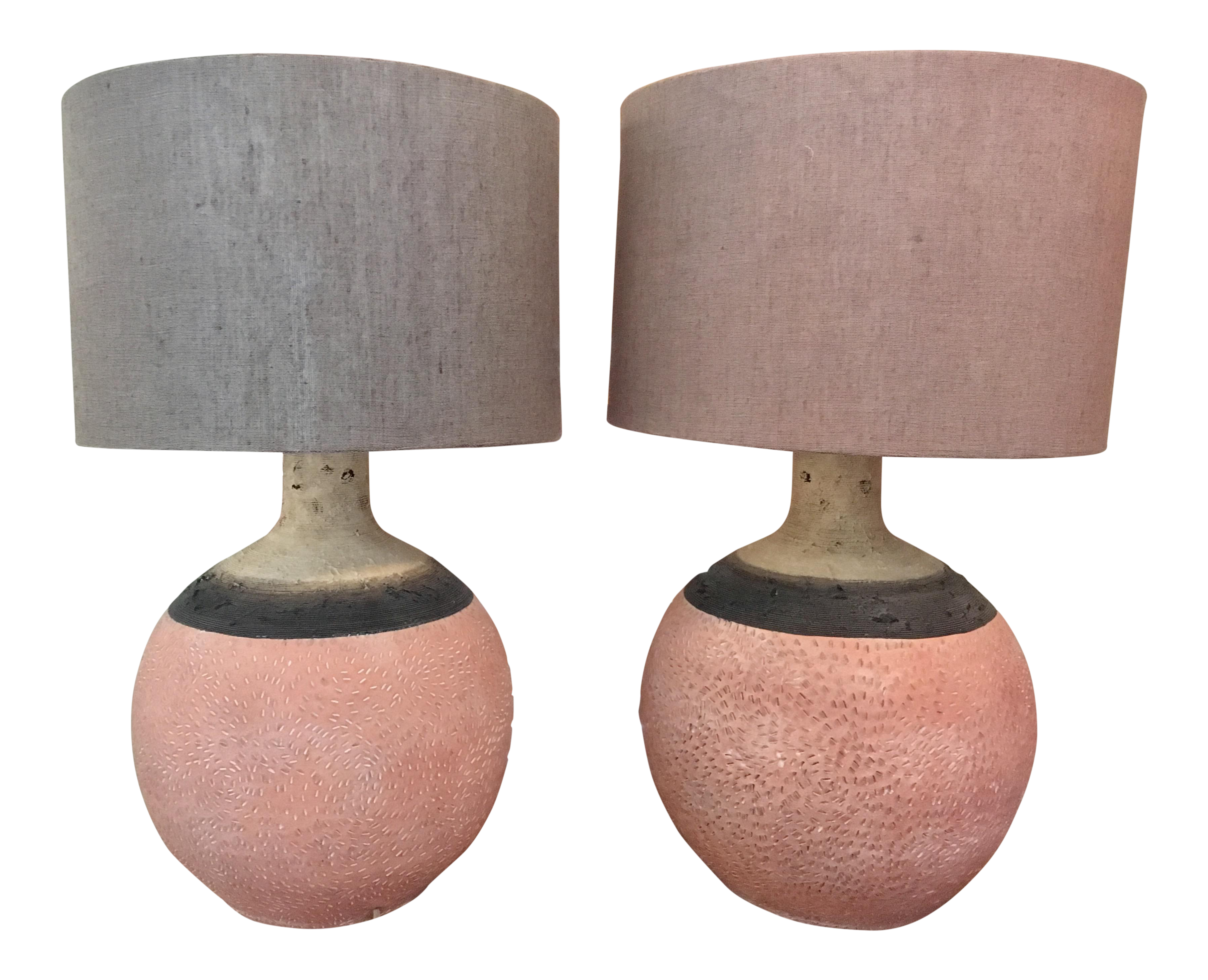 Anthropologie Hand Painted Earthenware Lamps   A Pair