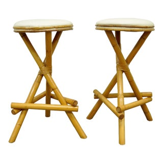 Vintage Willow & Reed Bamboo Rattan Bar Counter Stools - A Pair