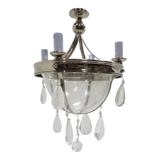 Bell Shaped Glass, Chrome & Crystal Pendant Lamp For Sale