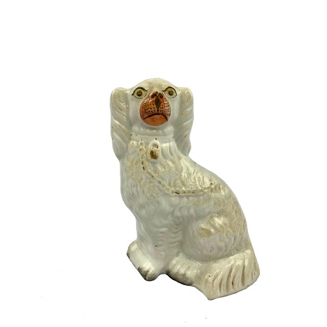 White Antique Staffordshire Spaniel Dog Figurine With Lock and Chain Detail For Sale - Image 8 of 8