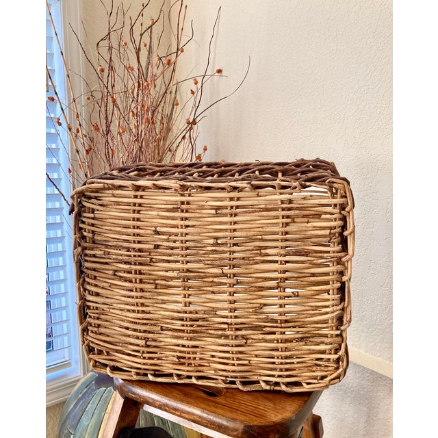 Crisscross Open Weave Handwoven Rattan & Willow Basket by Three Hands - Circa 1990 For Sale - Image 10 of 13
