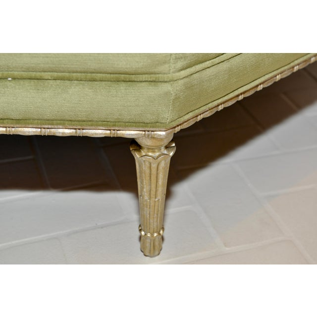 Modern Caracole Modern Celery Green Velvet and White Stone Round/Octagonal Banquette For Sale - Image 3 of 8