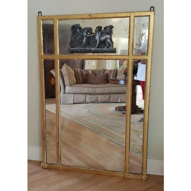 Metal 19th Century Neoclassical Eglomise Mirror With Angel & Griffin For Sale - Image 7 of 7