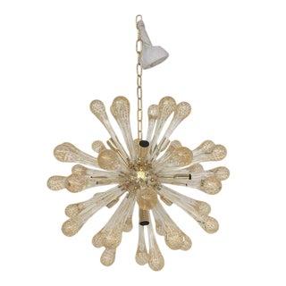 Sputnik Gold and Transparent Murano Glass Chandelier For Sale