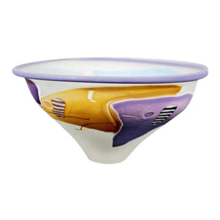 Contemporary Modern Frosted Multi Color Glass Art Bowl Signed James Wilbat 1990 For Sale