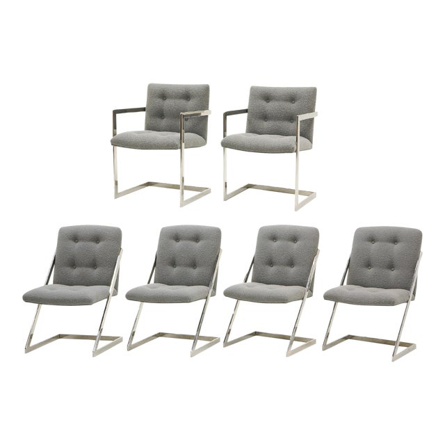 Set of Six Milo Baughman Dining Chairs, Two-Arm Chairs and Four Z Side Chairs - Image 1 of 11
