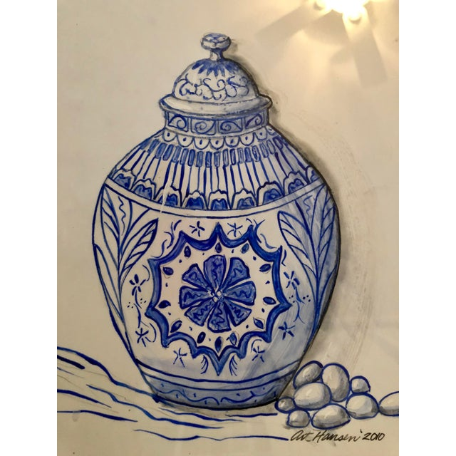 What a cheeky gem! Original watercolor of a Chinese ginger jar. On white paper with blue paint. Custom framing with white...
