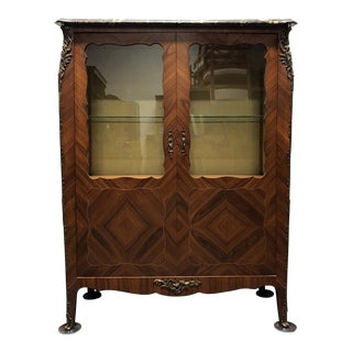 French Provincial Louis XV Inlaid Kingwood Bronze Ormolu Vitrine Curio Cabinet For Sale