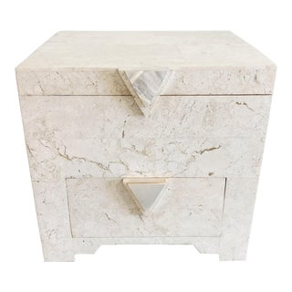 Tessellated Travertine Jewelry Box With Mother of Pearl Handles For Sale