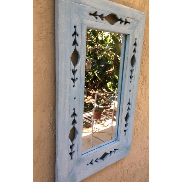 Vintage Hand Carved Wood Mirror For Sale - Image 9 of 11
