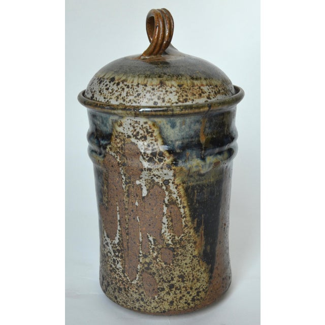 """Mid-Century Modern Mid Century Tall Stoneware Lidded Container Jar 11"""" For Sale - Image 3 of 6"""