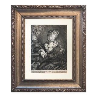 """18th C Engraving of a Woman titled """"Winter"""""""