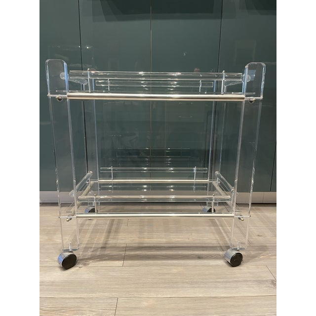 Contemporary Hollis Jones Two-Tier Lucite Bar Cart With Removable Trays For Sale - Image 3 of 11
