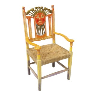 Mexican Hand Carved & Painted Ombre Sun Rush Seat Armchair - Pair Available For Sale