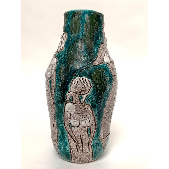Italian Gambone and Fanciullaci Style Italian Mid-Century Modern Ceramic Vase For Sale - Image 3 of 13