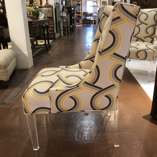 Modern Chairs on Acrylic Legs - a Pair For Sale - Image 9 of 13