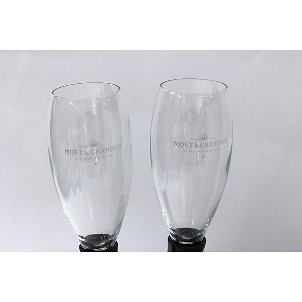 French Moët Chandon Champagne stemless champagne candelabra. Stems rest in the wrought iron stand. Dimensions: champagne...