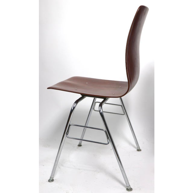 Pr. Royal Pagholz Mid Century Stacking Chairs For Sale In New York - Image 6 of 9