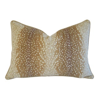 "Large Custom Fawn Speckled Spot Velvet Feather/Down Lumbar Pillow 26"" X 18"" For Sale"