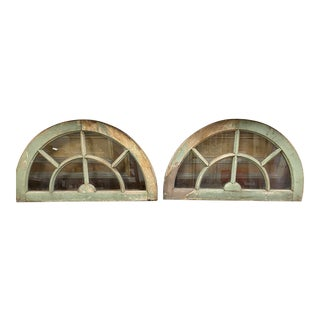 Vintage French Style Arched Windows - a Pair For Sale