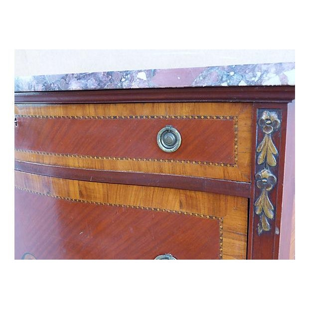 Giltwood Marquetry & Inlay Marble Top Chest For Sale - Image 7 of 11