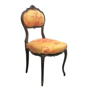 Louis XV Style Carved Walnut Side Chair For Sale