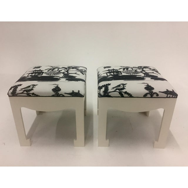Wood 1970s Vintage Hollywood Regency Ottomans- A Pair For Sale - Image 7 of 13