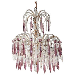 1920s Italian Micro-Beaded Amethyst Crystal Prisms Chandelier For Sale