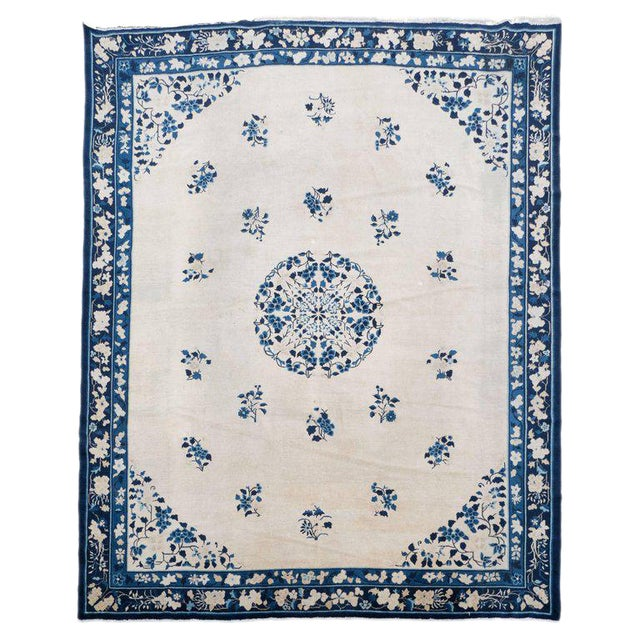 Large Scale Chinese Art Deco Rug in Cream and Navy with Floral Motifs For Sale